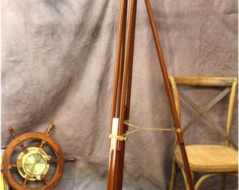 "Big Telescope on Adjustable Stand Brass 63"" Tall Antique Reproduction Two Scopes"