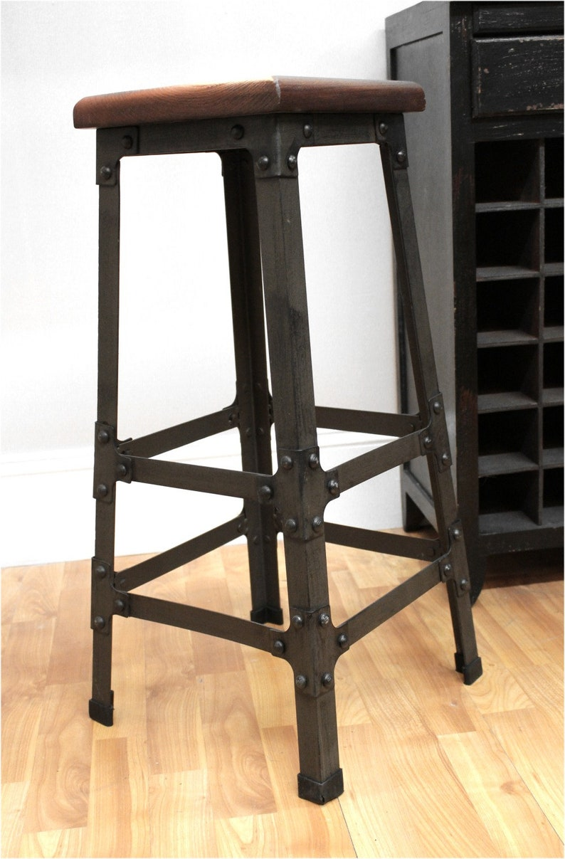 Bar Stool With Wooden Seat Riveted Iron Legs Home Bar Etsy