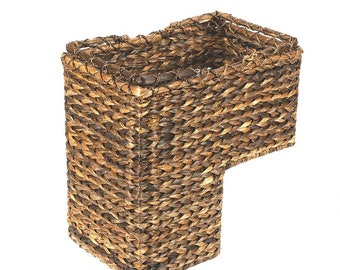 Braided Rope Leaf Stair Step Basket Great Craftsmanship Handy Stairway  Storage