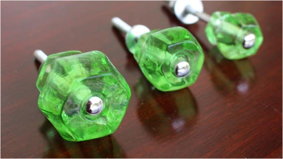 Image of: Green Glass Cabinet Knobs Intended Emerald Green Glass Cabinet Knobs Pc Cupboard Drawer Pulls Handles K61