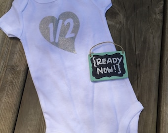 6 Month onesie -> { READY to ship NOW } - 1/2 Birthday - Silver Heart