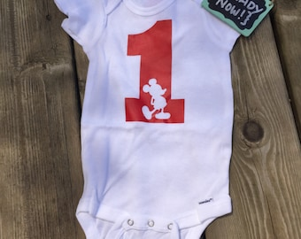 12 Month onesie -> { READY to ship NOW } - 1st Birthday Mickey