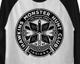 Upside Down BASEBALL T-SHIRT / Hawkins Monster Hunt Club / Eighties / Unisex