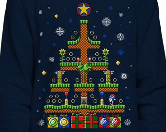 7b4f633f Sonic the Hedgehog Christmas SWEATSHIRT / Sega / Gaming / Retro / Ugly  Sweater / 8-Bit