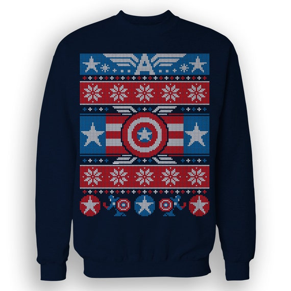 Winter Soldier Christmas Sweatshirt Festive Cap America Etsy