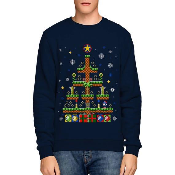 Hedgehog Christmas Sweater.Sonic The Hedgehog Christmas Sweatshirt Sega Gaming Retro Ugly Sweater 8 Bit