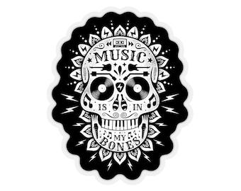 Music Is In My Bones Kiss-Cut STICKER / Mandala Skull / Transparent or White