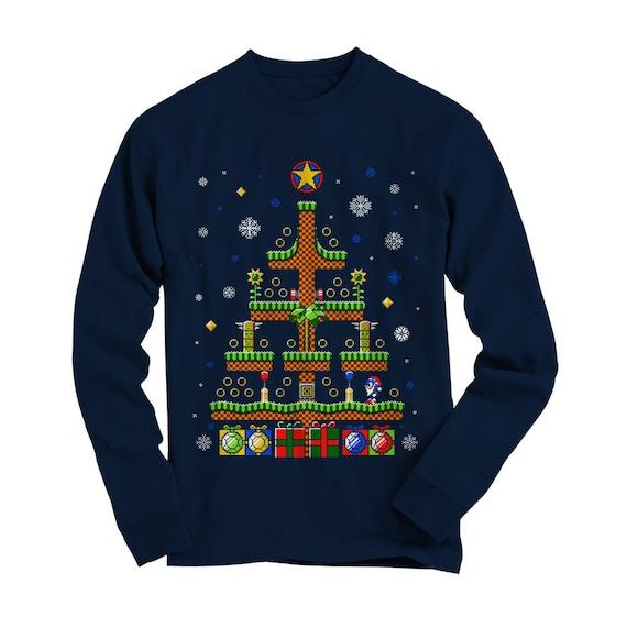 Hedgehog Christmas Sweater.Sonic The Hedgehog Christmas T Shirt Retro Gaming Sega 8 Bit Eighties Unisex