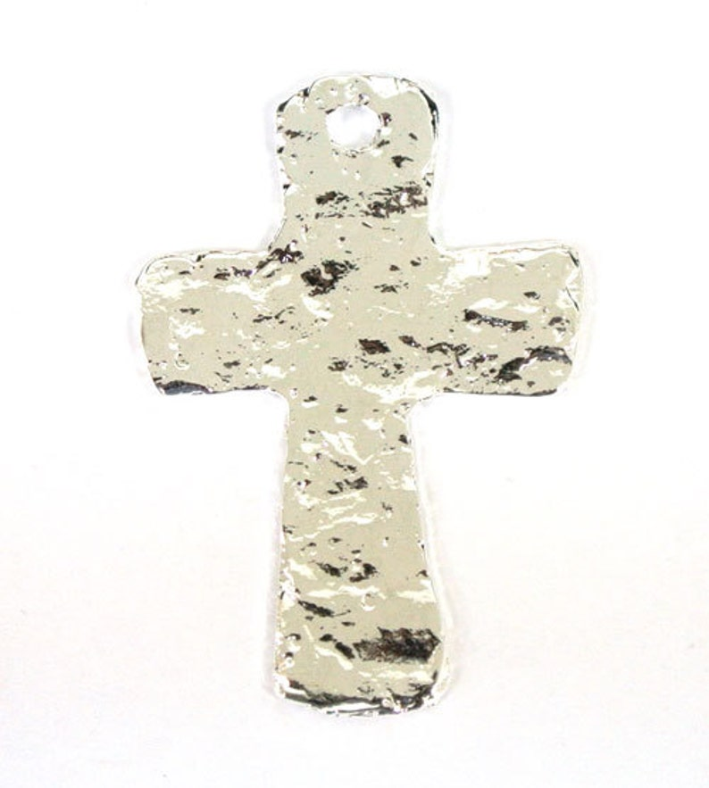 Pewter Hammered Cross Charm for Making Jewelry 150 PCS 1 Hole