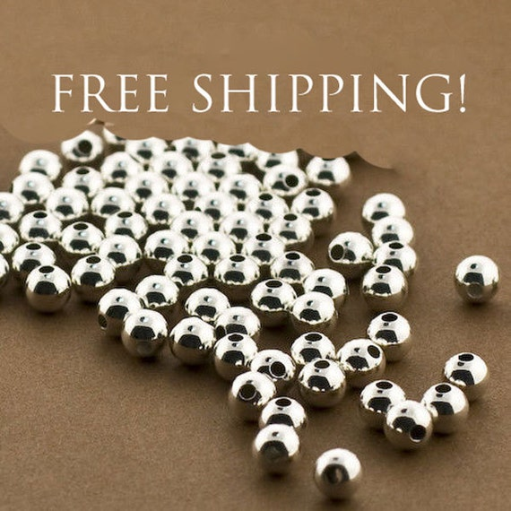 10 x  Sterling Silver .925 Round Seamless Spacer Beads with two hole Findings