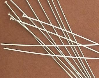 """100pcs - Sterling Silver Domed Headpins - 1.5"""" / 24 Guage -  Headpin, Head Pins, Head Pin 24GA, 24 GA, Jewelry Repair, Earrings,"""