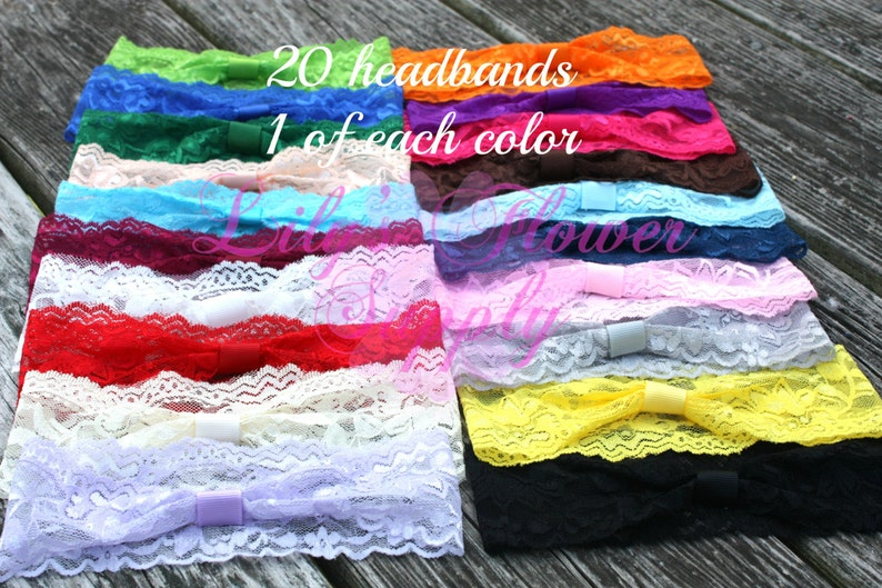 Limited Time DEAL Lace Headbands - Set of 20 One of Each Color - Interchangeable headbands - Baby headbands - Wholesale Headbands photo
