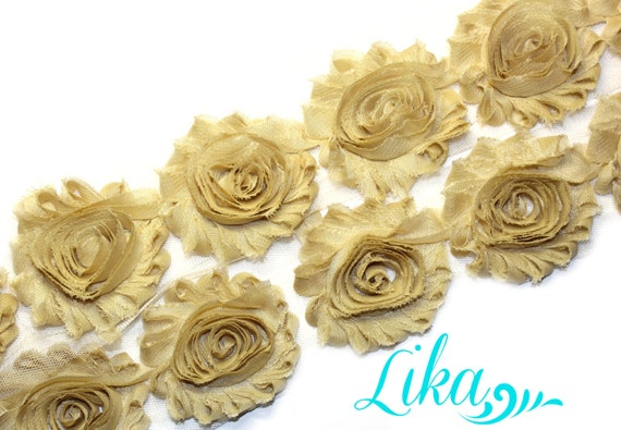 "wholesale 2.5/"" shabby flower chiffon trim 1 yard GOLD METALLIC shabby flower"