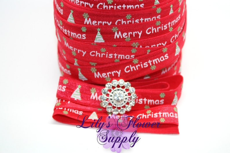 Christmas Fold Over Elastic 58 Fold Over Elastic Shiny Elastic FOE Foldover Elastic Headband Elastic by the yard