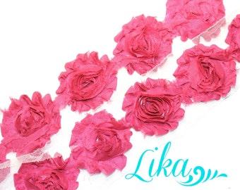 Fuschia Shabby Flower Trim - Shabby Rose trim - Shabby Flowers - Chiffon Flower - Fuschia - Wholesale - Shabby Chic - Rose Trim