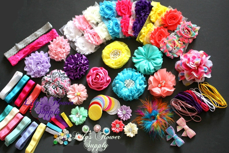 Baby Shower Headband Kit - Party Collection - Hair Bow Kit - Baby Shower Headband Station Kit - Birthday Party - 32 Headbands 5 Clips photo