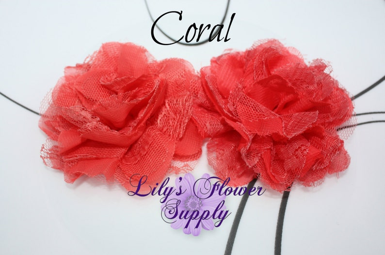 DIY- 3.75 inch Coral Lace Flowers Supply Lace rose Chiffon Flower Shredded Lace Flower Wholesale
