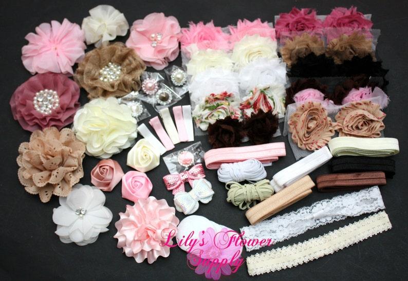 Baby Shower Headband Kit, Deluxe DIY Hair Bow Kit, Baby Shower Headband Station Kit, Vintage Headband Shower Kit, Make 30 Headbands 5 Clips photo
