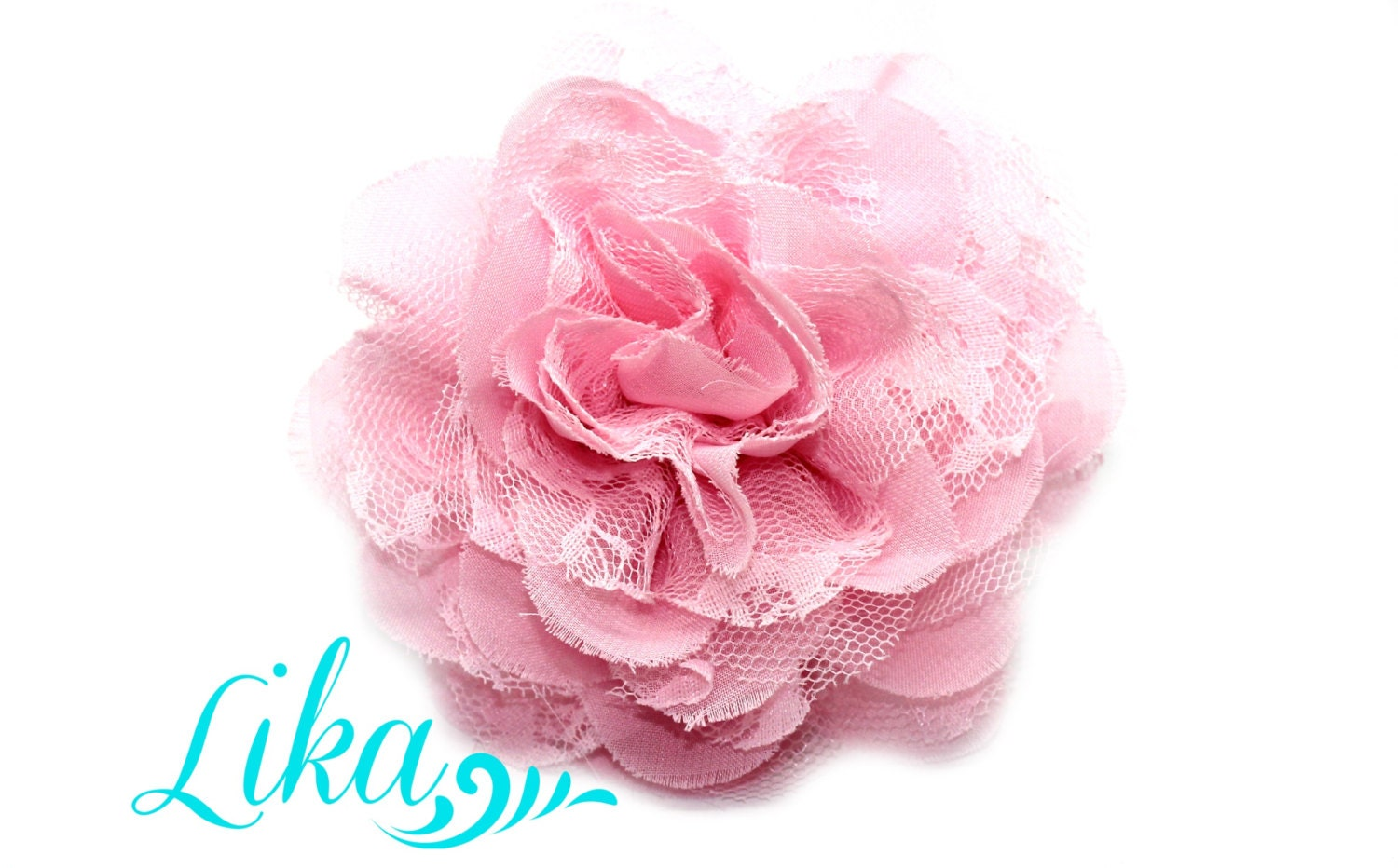 Pink Lace Flower Chiffon Flower Lace Rose Shredded Lace Etsy