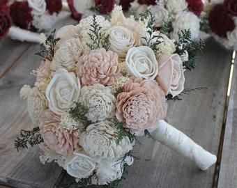 Pink wedding bouquet etsy blush pink ivory sola wood bouquet blush pink and ivory wedding bouquet pink sola bouquet blush pink sola flowers blush pink bouquet mightylinksfo
