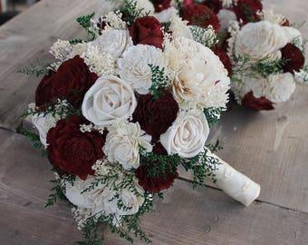 Burgundy bouquet etsy burgundy sola flower bouquet burgundy cream wedding bouquet burgundy sola wood bouquet burgundy and ivory bouquet burgundy bouquet mightylinksfo