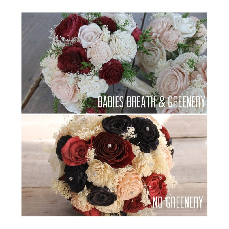 Red Rose Bouquet Black Red Sola Wood Bouquet Red /& Black Sola Flower Bouquet and Ivory Wedding Bouquet Ivory and Red Bouquet Red