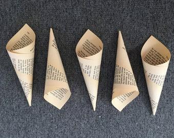 50 Book Page Confetti Cones confetti holder wedding