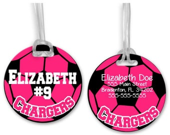 Personalized Soccer Bag Tag, Sports Bag Tag, Personalized Bag Tag, Soccer Backpack Tag, Available in your choice of colors and fonts