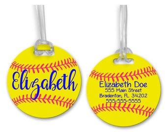 Softball Bag Tag, Personalized Softball Tag, Softball Gifts, Bag Tags, Sports Tag, Luggage Tag, Backpack Tag, Round Bag Tag, Custom Bag Tag