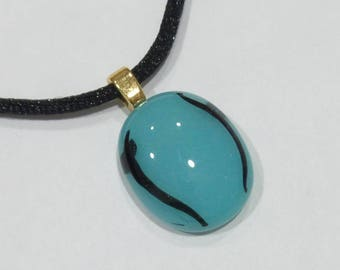 Turquoise Blue Pendant, Black Accents, Fused Glass Jewelry, Handmade, Ready to Ship - Louisa - -6