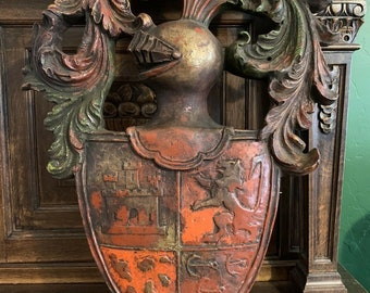 Antique English Heraldic Coat of Arms Knight Crest Shield Lion Castle Pediment Wall Mount
