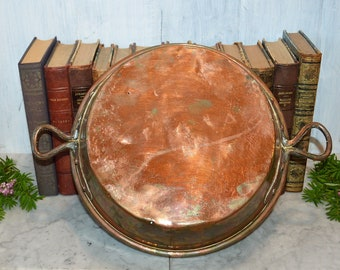 Antique French Copper Pot Kitchen Jam Preserves Pan Copper Handles Rivets Rolled Edges Tin Lined