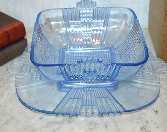 Antique Art Deco Blue Glass Serving or Decorative Square Bowl and Tray