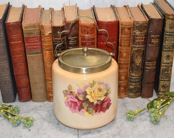 Antique English Biscuit Barrel Jar Blush Ceramic Roses Flowers