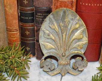 Antique French Bronze Shell Design Pediment Element Hardware Mount