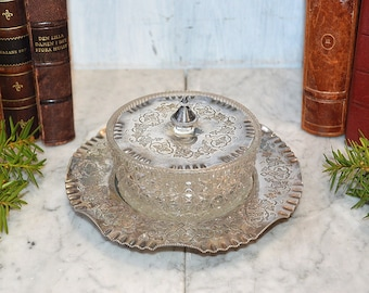 Antique English EPNS Cut Glass Crystal Silver Plate Butter Jam Condiments Dish Daniel and Arter