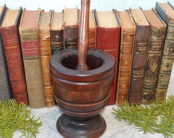 Antique Large Apothecary Mortar and Pestle Turned Wood Kitchen Spices