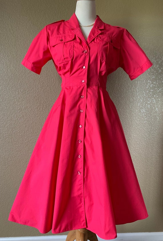 80's does 50's Fuschia Poplin Shirt Dress