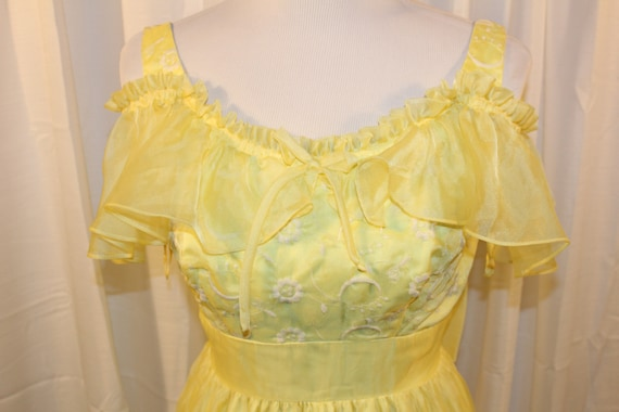 70's Yellow Flutter off the Shoulder Formal