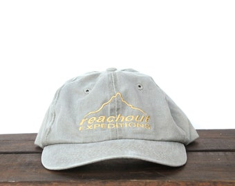 b56d7ec6de2 Vintage 90 s Reachout Expeditions Mountain Climbing Hiking Unstructured  Strapback Hat Baseball Cap pxq