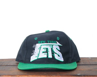2703c204a31 Vintage 90 s New York Jets Football NFL Snapback Hat Baseball Cap