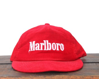 92a1d0dbd50 Vintage Red Corduroy Marlboro Cigarettes Tobacco Trucker Hat Snapback  Baseball Cap