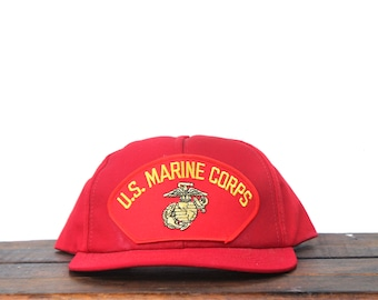 b7cd8a58fa233 Trucker Hat Vintage Snapback Hat Baseball Cap US Marine Corps USMC Marines  Military Veteran Made In USA Patch