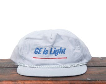 Vintage Trucker Hat Strapback Baseball Cap GE Is Light General Electric Light  Bulb Lamp Electricity Power a94a4754cabd