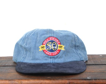 Vintage 90 s Bill Pierre Lake City Car Truck Dealer Fords Forever Leather  Brim Mac Demarco Style Unstructured Strapback Hat Baseball Cap d6fc9cb9c32