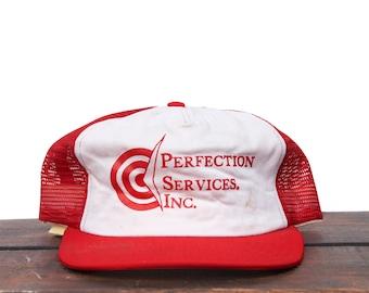 f149375df98aa Vintage Trucker Hat Snapback Hat Baseball Cap Perfection services Inc Target