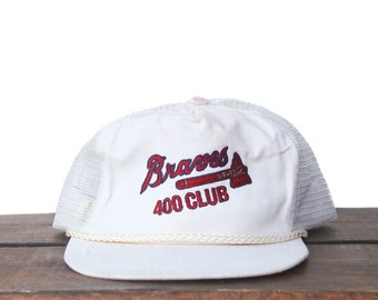 san francisco bcee3 40afb Vintage Distressed Atlanta Braves 400 Fan Club MLB Snapback Trucker Hat  Baseball Cap pxq