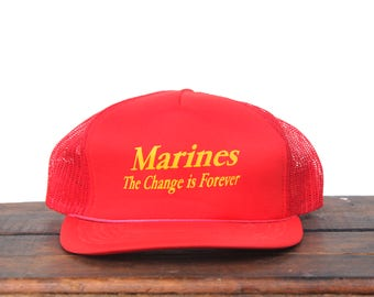 f5df8fa017c Trucker Hat Vintage Snapback Hat Baseball Cap USMC United States Marine  Corps The Change Is Forever Military xrz