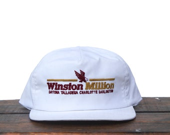 5fb33ca2287 Vintage Winston Million Racing Cup Nascar Daytona Talladega Cigarettes  Tobacco Trucker Hat Snapback Baseball Cap USA Made