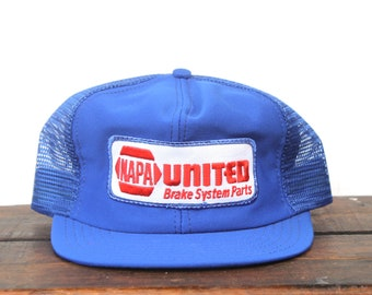 3f50326e277 Vintage Trucker Hat Snapback Hat Baseball Cap NAPA National Auto Parts  Association United Brakes Car Mechanic Patch Made In USA